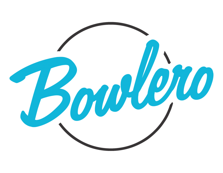 Bowlero - Blue text on white background with gray circle